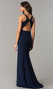 Image of Dave and Johnny racerback long navy formal dress. Style: DJ-A6521 Back Image