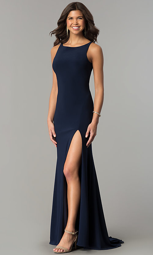 Image of Dave and Johnny racerback long navy formal dress. Style: DJ-A6521 Front Image
