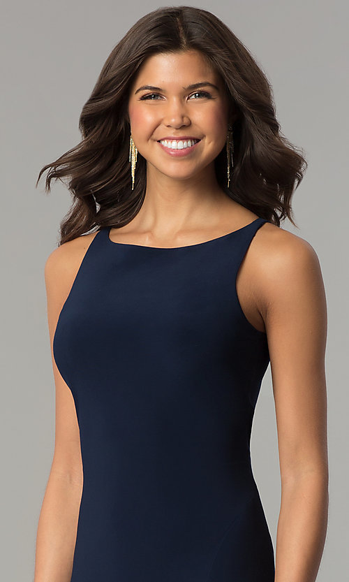 Image of Dave and Johnny racerback long navy formal dress. Style: DJ-A6521 Detail Image 1
