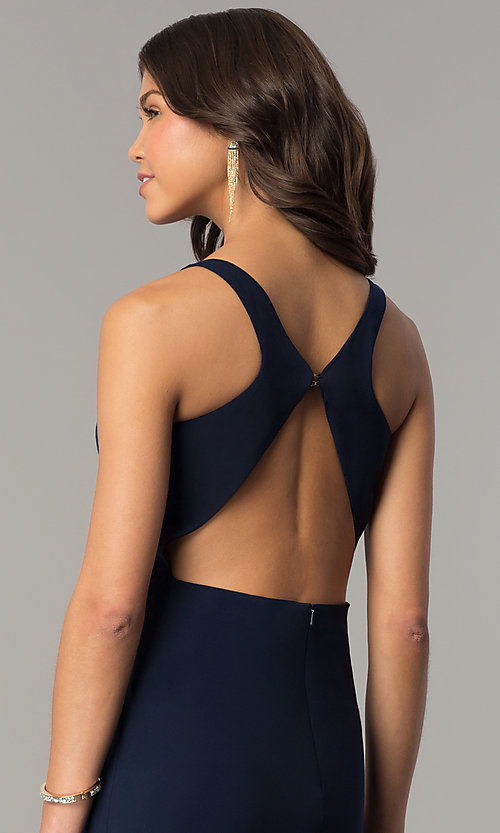 Image of Dave and Johnny racerback long navy formal dress. Style: DJ-A6521 Detail Image 2