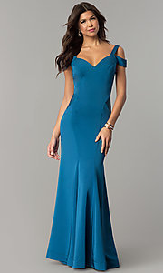 Image of long mermaid cold-shoulder satin prom dress. Style: DJ-A6425 Front Image
