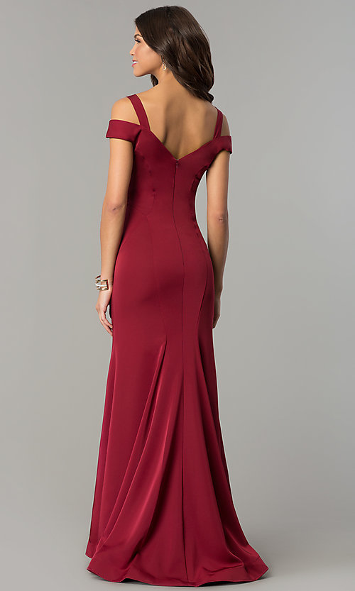 Image of long mermaid cold-shoulder satin prom dress. Style: DJ-A6425 Back Image