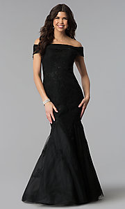 Image of Dave and Johnny long off-the-shoulder prom dress. Style: DJ-3377 Detail Image 3