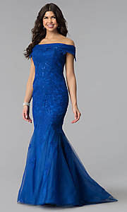 Image of Dave and Johnny long off-the-shoulder prom dress. Style: DJ-3377 Detail Image 2