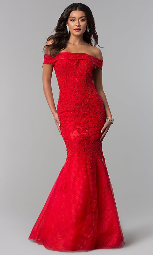 Image of Dave and Johnny long off-the-shoulder prom dress. Style: DJ-3377 Front Image