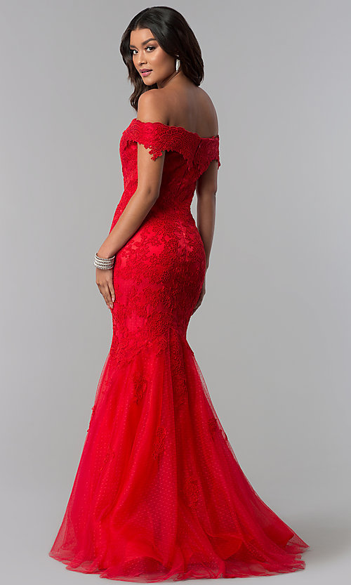 Image of Dave and Johnny long off-the-shoulder prom dress. Style: DJ-3377 Back Image