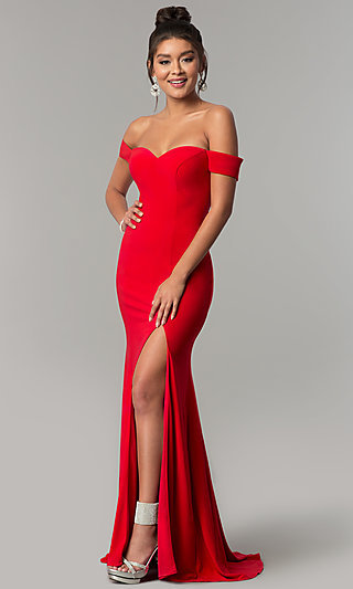 f02fc0f80e6 Long Off-Shoulder Red Dave and Johnny Formal Dress