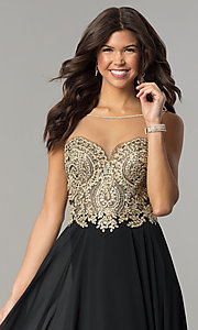 Image of embroidered-bodice open-back long chiffon prom dress. Style: DJ-3116 Detail Image 1