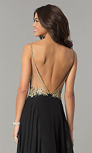 Image of embroidered-bodice open-back long chiffon prom dress. Style: DJ-3116 Detail Image 2