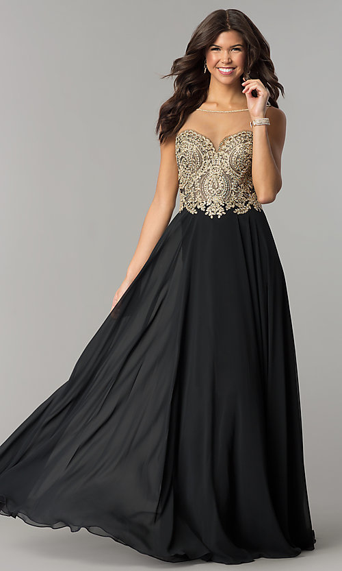 Image of embroidered-bodice open-back long chiffon prom dress. Style: DJ-3116 Front Image