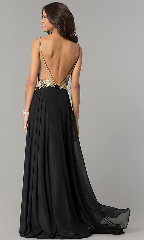 Image of embroidered-bodice open-back long chiffon prom dress. Style: DJ-3116 Back Image