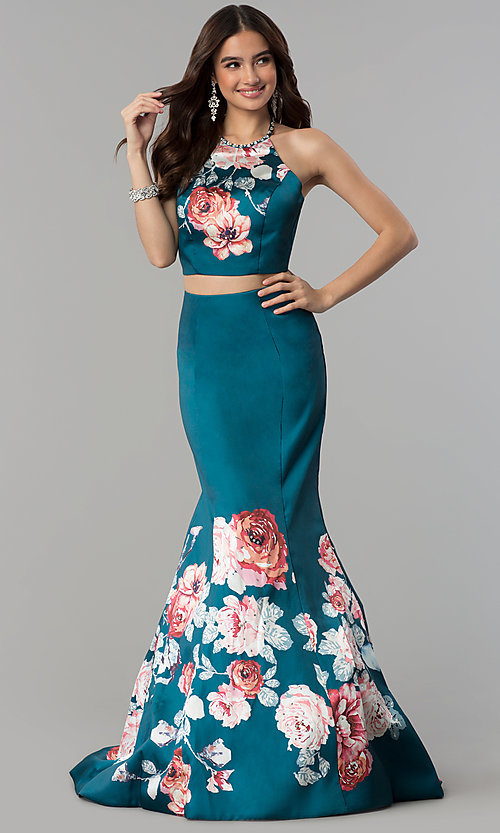 Image of halter-top two-piece floral-print long prom dress. Style: BL-11137T Front Image