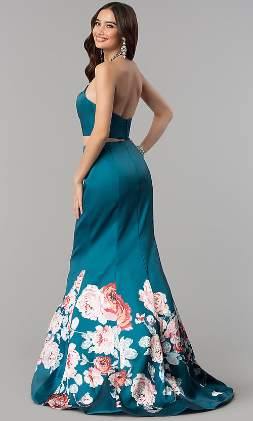 Image of halter-top two-piece floral-print long prom dress. Style: BL-11137T Back Image