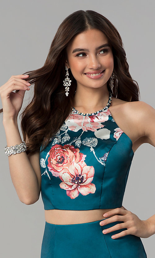 Image of halter-top two-piece floral-print long prom dress. Style: BL-11137T Detail Image 1