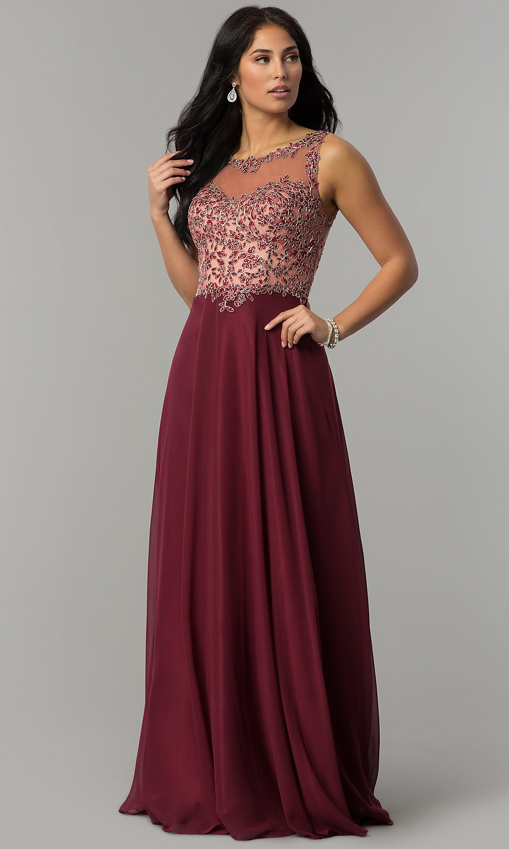 Bateau-Neck Prom Dress with a Sheer Beaded Bodice