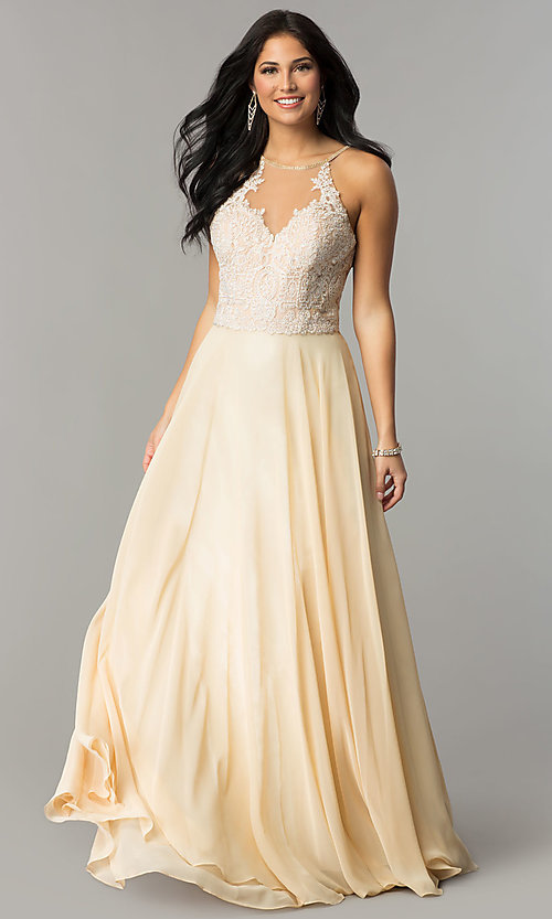 Image of embroidered lace-bodice Dave and Johnny prom dress. Style: DJ-3123 Front Image