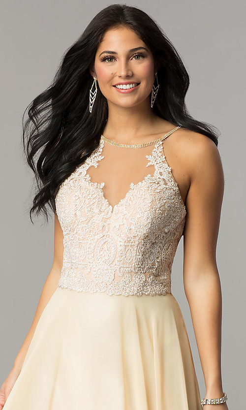 Image of embroidered lace-bodice Dave and Johnny prom dress. Style: DJ-3123 Detail Image 1