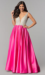 Image of beaded-bodice Dave and Johnny long formal dress. Style: DJ-A6395 Detail Image 7