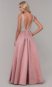 Image of beaded-bodice Dave and Johnny long formal dress. Style: DJ-A6395 Detail Image 3