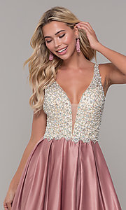 Image of beaded-bodice Dave and Johnny long formal dress. Style: DJ-A6395 Detail Image 4