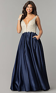 Image of beaded-bodice Dave and Johnny long formal dress. Style: DJ-A6395 Front Image