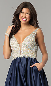 Image of beaded-bodice Dave and Johnny long formal dress. Style: DJ-A6395 Detail Image 1