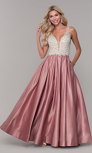 Beaded-Bodice Dave and Johnny Long Formal Dress