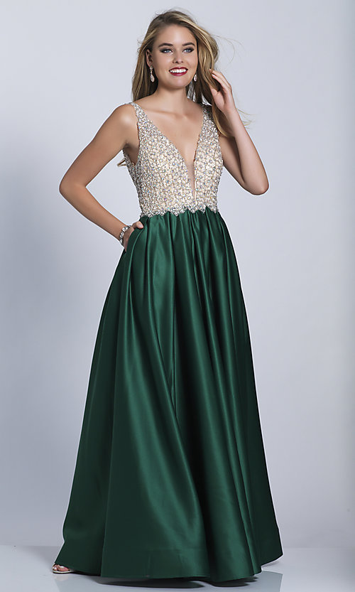 Image of beaded-bodice Dave and Johnny long formal dress. Style: DJ-A6395 Detail Image 8
