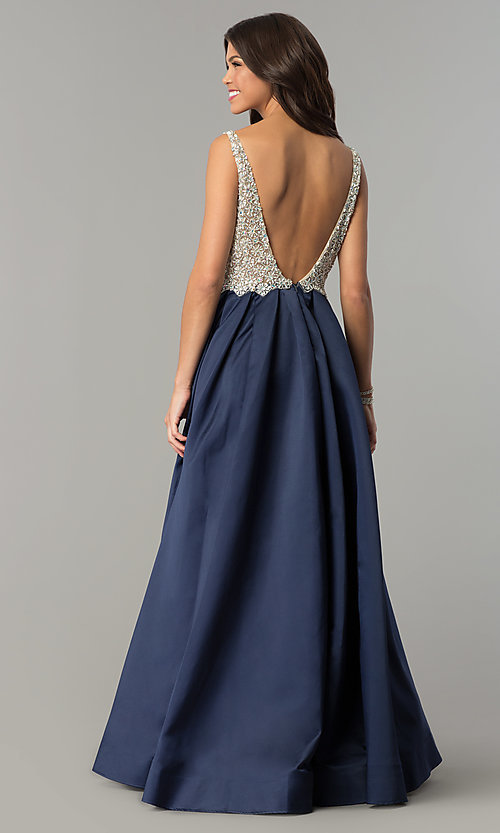 Image of beaded-bodice Dave and Johnny long formal dress. Style: DJ-A6395 Back Image