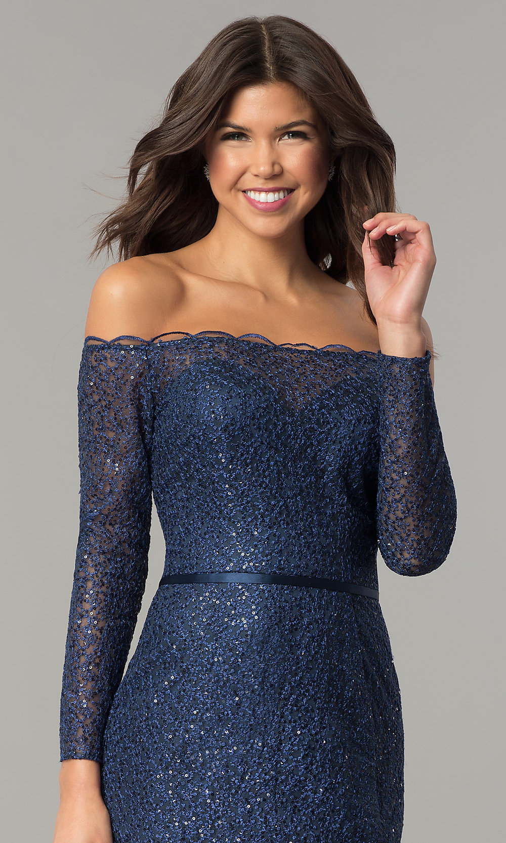 0263247794 Navy Blue Off-the-Shoulder Long-Sleeve Prom Dress