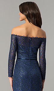 Image of navy blue off-the-shoulder long-sleeve prom dress. Style: DJ-A5840 Detail Image 2
