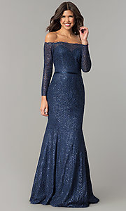 Image of navy blue off-the-shoulder long-sleeve prom dress. Style: DJ-A5840 Front Image