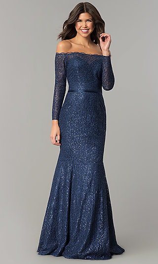 Navy Blue Off-the-Shoulder Long-Sleeve Prom Dress