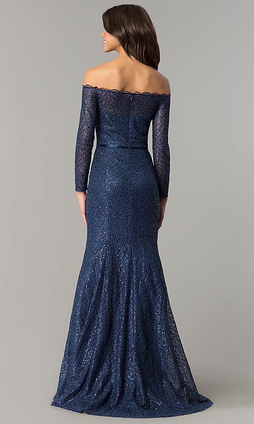 Image of navy blue off-the-shoulder long-sleeve prom dress. Style: DJ-A5840 Back Image