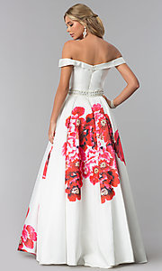 Image of Dave and Johnny off-the-shoulder print prom dress. Style: DJ-A5604 Back Image