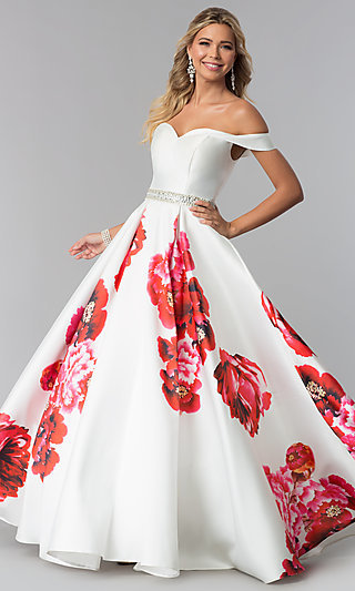 Dave and Johnny Off-the-Shoulder Print Prom Dress