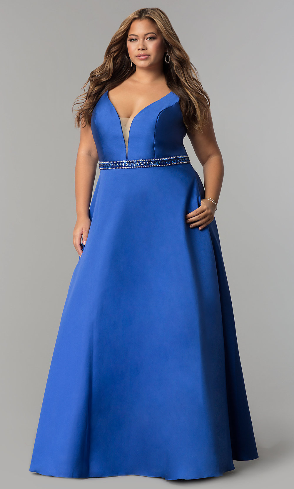 Plus Size Long Satin Prom Dress