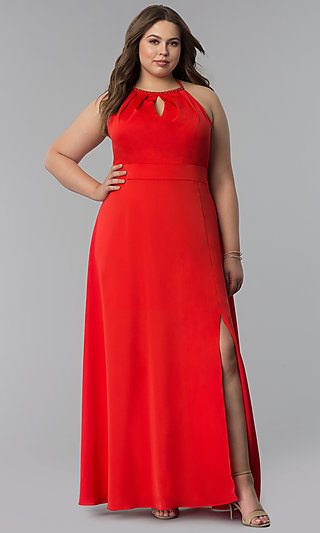 Long Plus-Size Keyhole Neckline Prom Dress