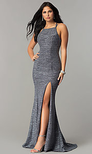 Image of Dave and Johnny metallic long formal prom dress. Style: DJ-3401 Front Image