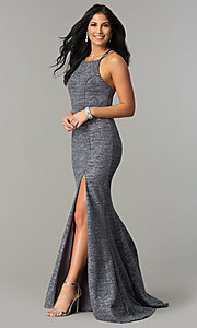 Image of Dave and Johnny metallic long formal prom dress. Style: DJ-3401 Detail Image 1