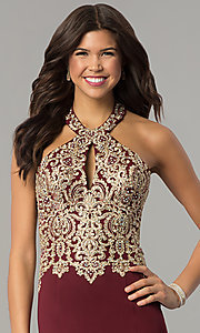 Image of long formal prom dress with embroidered halter.  Style: DJ-A6046 Detail Image 1