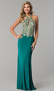 Image of long formal prom dress with embroidered halter.  Style: DJ-A6046 Detail Image 3