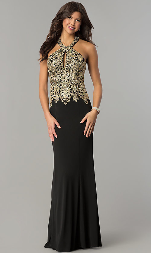Image of long formal prom dress with embroidered halter.  Style: DJ-A6046 Detail Image 2