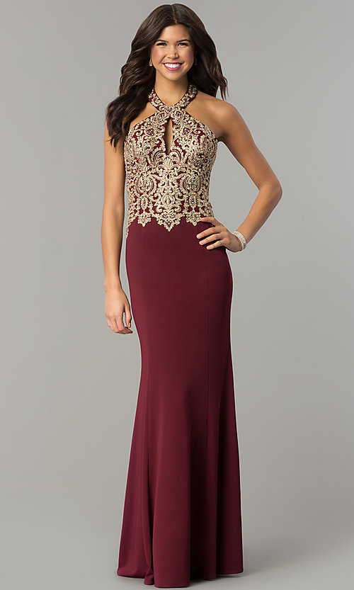 Image of long formal prom dress with embroidered halter.  Style: DJ-A6046 Front Image