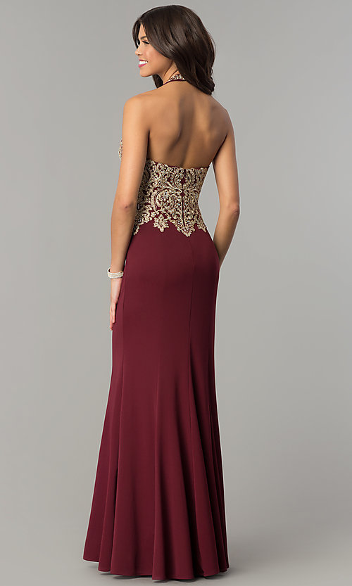 Image of long formal prom dress with embroidered halter.  Style: DJ-A6046 Back Image