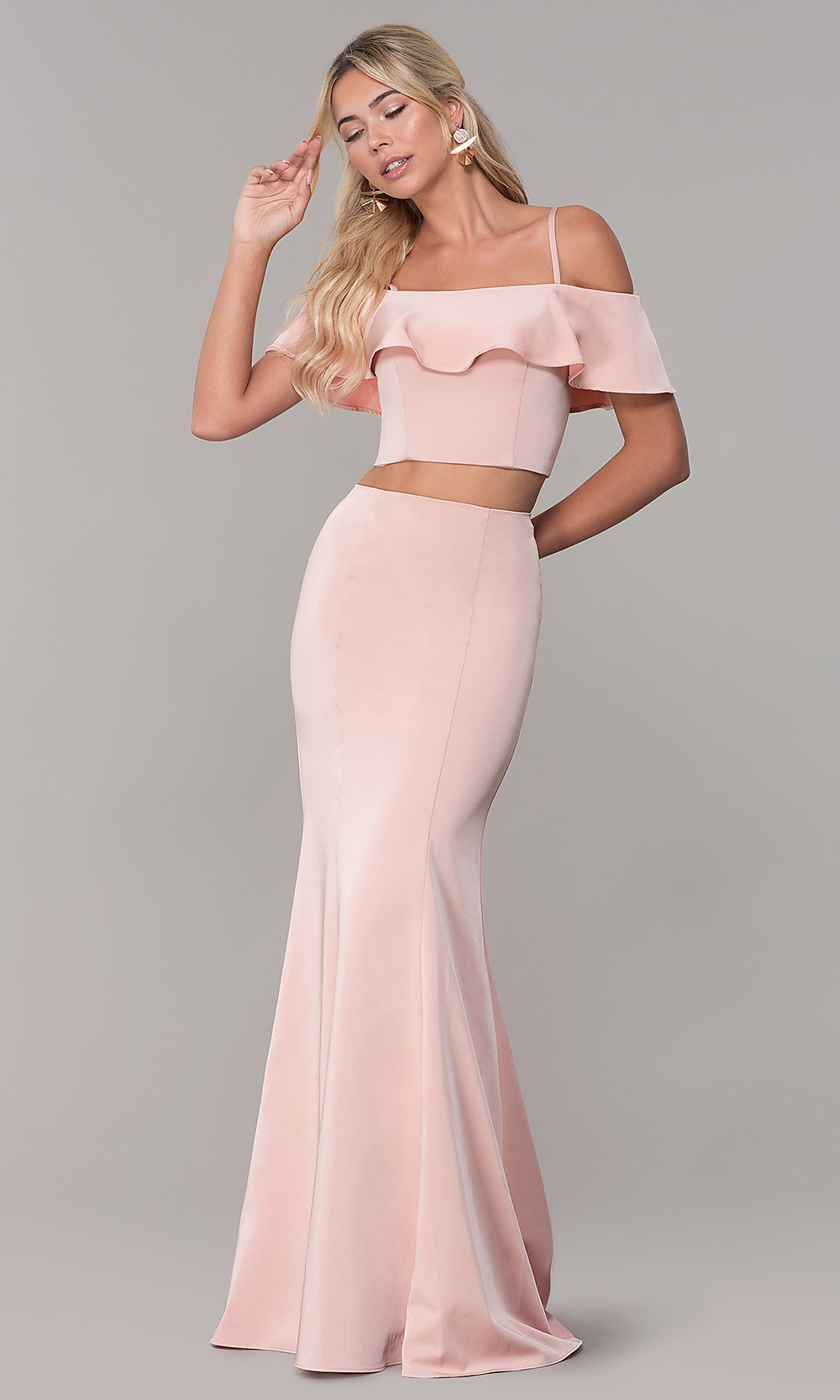 5559d29d0b2 Image of long two-piece ruffled off-the-shoulder prom dress. Style. Tap to  expand