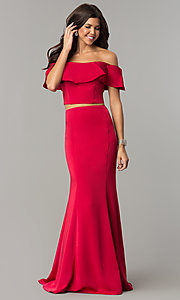 Image of long two-piece ruffled off-the-shoulder prom dress. Style: DJ-A3416 Detail Image 2