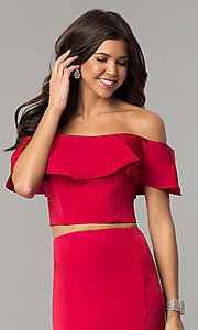 Image of long two-piece ruffled off-the-shoulder prom dress. Style: DJ-A3416 Detail Image 3