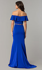Image of long two-piece ruffled off-the-shoulder prom dress. Style: DJ-A3416 Back Image
