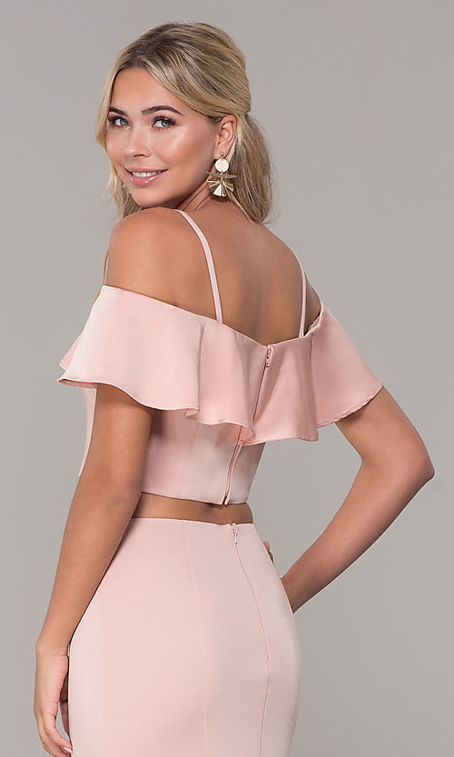 Image of long two-piece ruffled off-the-shoulder prom dress. Style: DJ-A3416 Detail Image 7